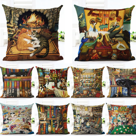 Cats Patterns Christmas Cotton Linen Pillow Case Cushion Cover | Home Decor | All For Xmas