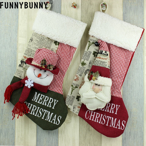 Christmas Cloth 3D Stocking - Santa Snowman | Home Decor | All For Xmas