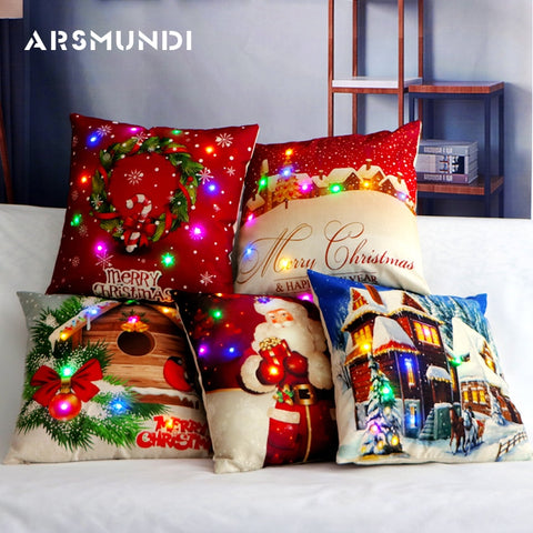 LED Light Christmas Pillow Case Cushion Cover | Home Decor | All For Xmas - All For Xmas