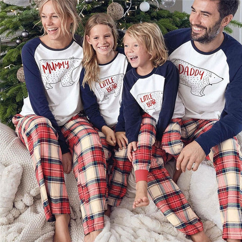 Family Matching Christmas Pajamas - Blue White Plaid | Christmas Apparel | All For Xmas