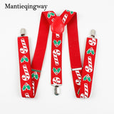 Red Candy Cane Mistletoe Adjustable Y-Shape Christmas Suspenders | Christmas Apparel | All For Xmas