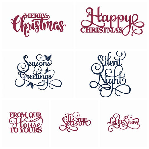 Christmas Greetings Words Metal Cutting Dies | DIY Scrapbooking | All For Xmas - All For Xmas