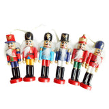 New 6Pcs /Set Christmas Decorations Nutcracker Wooden Soldier Puppet 12CM Tin Toy 6-piece Decorative Pendant
