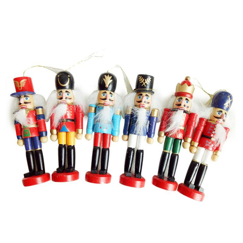 New 6Pcs /Set Christmas Decorations Nutcracker Wooden Soldier Puppet 12CM Tin Toy 6-piece Decorative Pendant - All For Xmas