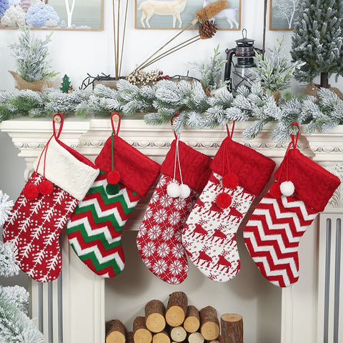 Big Knitted Wool Christmas Stockings - 5 designs | Home Decor | All For Xmas