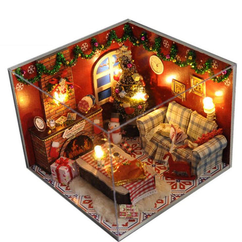 Small DIY Wooden Christmas Scene Dollhouse With LED Light | Christmas Decor | All For Xmas