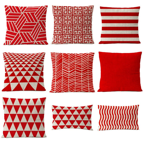 Red White Christmas Cotton Linen Pillow Case Cushion Cover | Home Decor | All For Xmas - All For Xmas