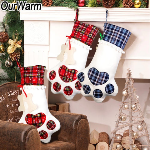 Christmas Cat Dog Paws Plaid Stockings - 2 Colors | Home Decor | All For Xmas