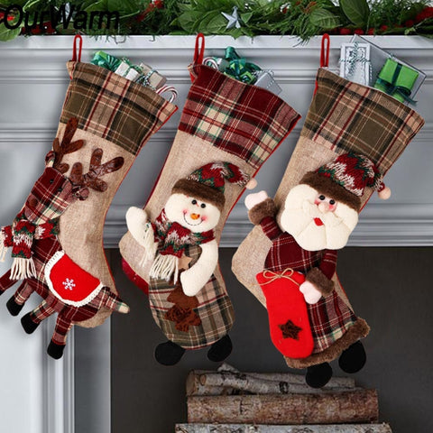 Large Christmas Cloth Plaid 3D Stocking - 7 designs | Home Decor | All For Xmas