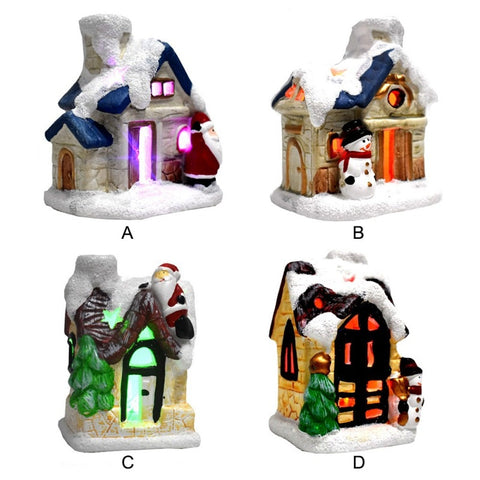 Christmas Scene Village Houses with Colorful LED Lights | Christmas Decor | All For Xmas - All For Xmas