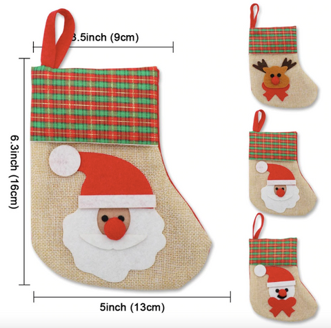 Small Christmas Cloth Stocking - Santa Snowman Reindeer | Home Decor | All For Xmas