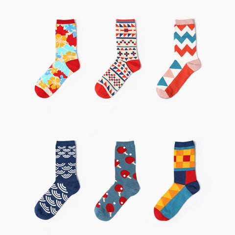Funny Colorful Cotton Blend Socks - 6 Patterns | Christmas Apparel | All For Xmas