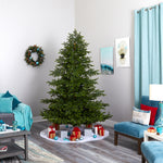 7.5' South Carolina Spruce Real Touch Artificial Wide Christmas Tree With 650 LEDs, 1080 Bendable Branches & Instant Connect Technology
