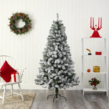 6' Flocked West Virginia Fir Artificial Christmas Tree With 550 Bendable Branches
