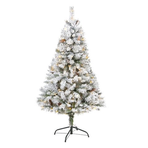 5' Flocked White River Mountain Pine Artificial Christmas Tree With 150 Clear LED Lights