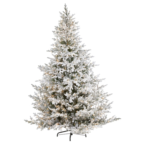 8' Flocked Fraser Fir Artificial Christmas Tree With 800 LEDs And 4892 Bendable Branches
