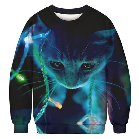 Ugly Christmas Sweater Printed Pullover - Christmas Lights Cat | Christmas Apparel | All For Xmas