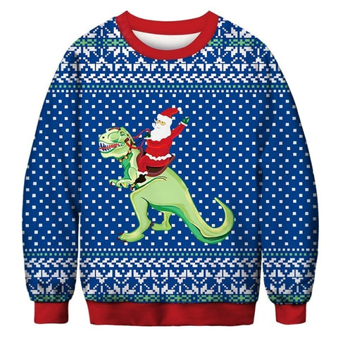 Ugly Christmas Sweater Printed Pullover - Santa Riding Dino | Christmas Apparel | All For Xmas