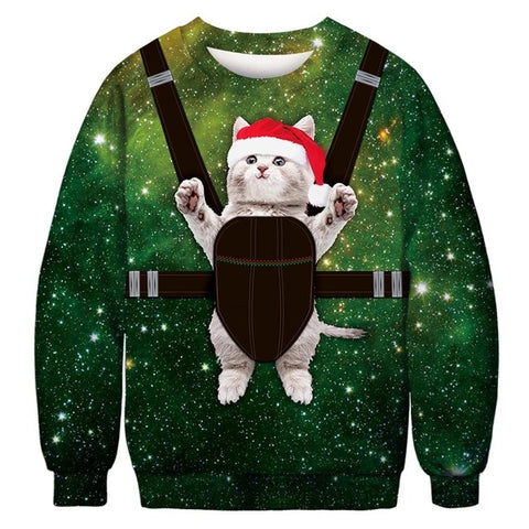 Ugly Christmas Sweater Printed Pullover -Strapped Kitten | Christmas Apparel | All For Xmas