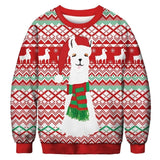 Ugly Christmas Sweater Printed Pullover - Llama Claus | Christmas Apparel | All For Xmas