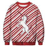 Ugly Christmas Sweater Printed Pullover -Unicorn | Christmas Apparel | All For Xmas