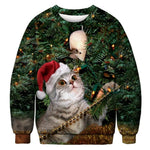 Ugly Christmas Sweater Printed Pullover - Christmas Tree Cat | Christmas Apparel | All For Xmas