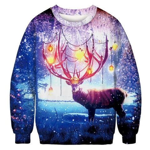 Ugly Christmas Sweater Printed Pullover - Reindeer | Christmas Apparel | All For Xmas
