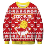 Ugly Christmas Sweater Printed Pullover -Szechuan Sauce | Christmas Apparel | All For Xmas