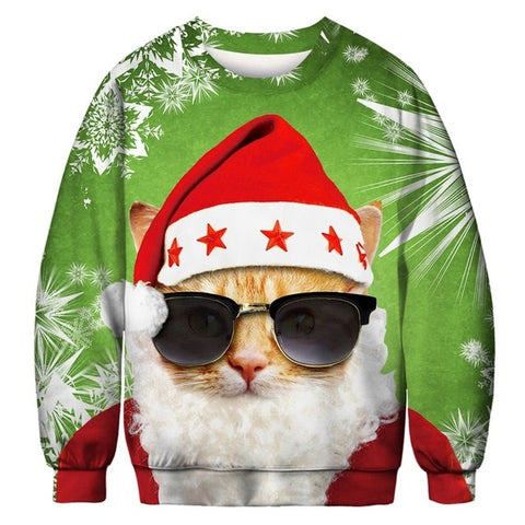 Ugly Christmas Sweater Printed Pullover - Cat Santa | Christmas Apparel | All For Xmas