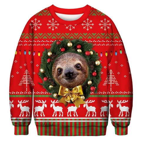 Ugly Christmas Sweater Printed Pullover -Holiday Sloth | Christmas Apparel | All For Xmas