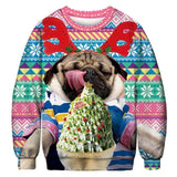 Ugly Christmas Sweater Printed Pullover -Hungry Pug | Christmas Apparel | All For Xmas