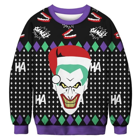 Ugly Christmas Sweater Printed Pullover -Joker Santa | Christmas Apparel | All For Xmas