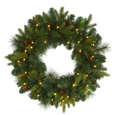 "24"" Mixed Pine Artificial Christmas Wreath With 35 Clear LED Lights And Pinecones"