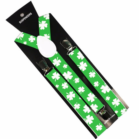 Green Clover Leaf Y-shaped Suspenders For Christmas | Christmas Apparel | All For Christmas