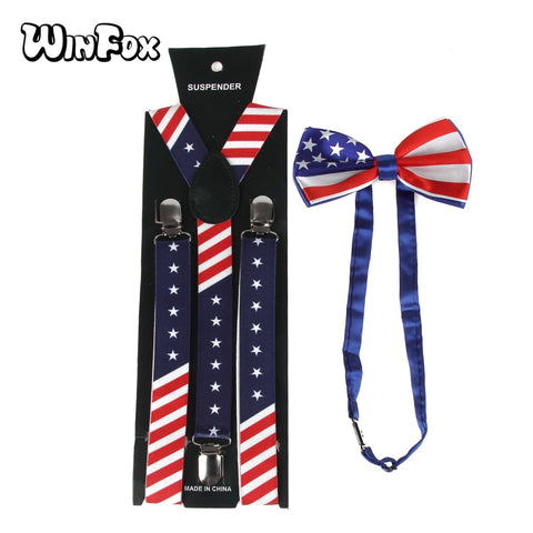 US Flag Adult Y-Shaped Suspenders with Bowtie | Christmas Apparel | All For Xmas - All For Xmas