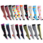 Colorful Cotton Blend Long Compression Pressure Socks - One Size | Christmas Apparel | All For Xmas