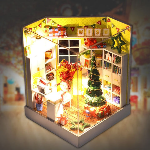Small DIY Wooden Christmas Dollhouse With Light | Christmas Decor | All For Xmas