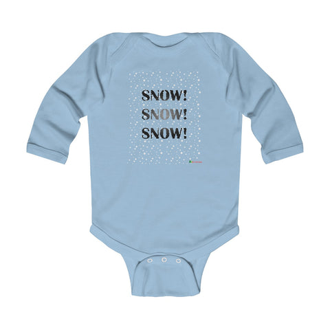 Baby Long Sleeve Bodysuit | Snow Snow Snow | Multiple Colors | Christmas Apparel | All For Xmas