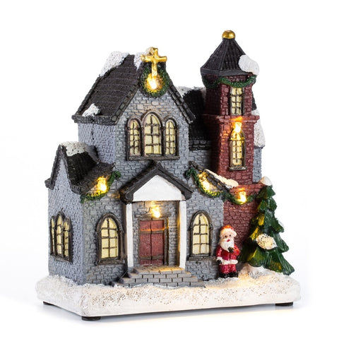"6"" Christmas Village Scene Church House With LED Light 