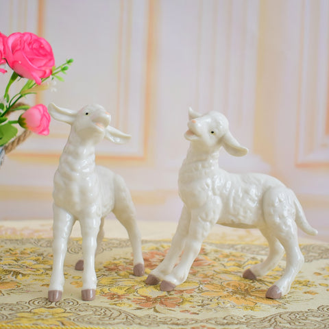 white Ceramic Porcelain Lamb | Nativity Scene Decor | All For Xmas