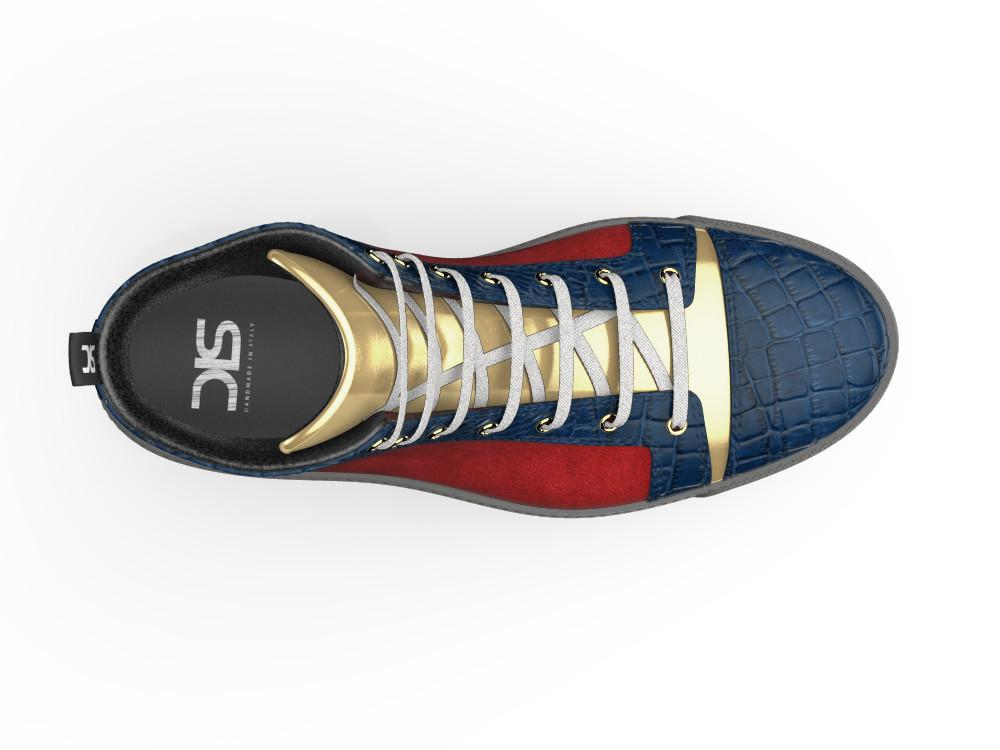 Gianmarco X Don Antelope Leather Red Blue & Gold High-Tops - Shoes