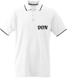 Mens Official Don Border Neck Polo-Shirt- Plain 1 Logo - White / Navy / White / S - Homme>Polos