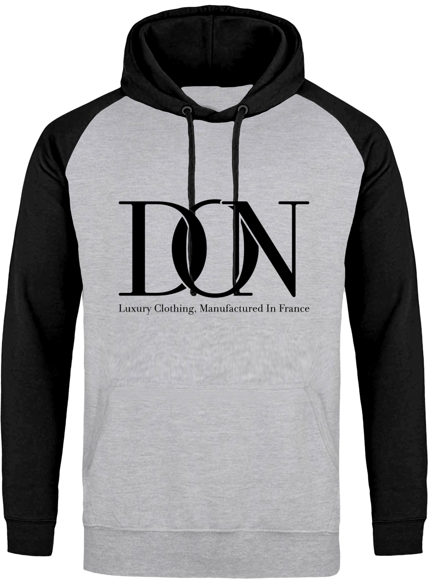 Mens Official Don Signature Cross-Fade Hoodie - Heather Grey / Black / S - Homme>Sweatshirts