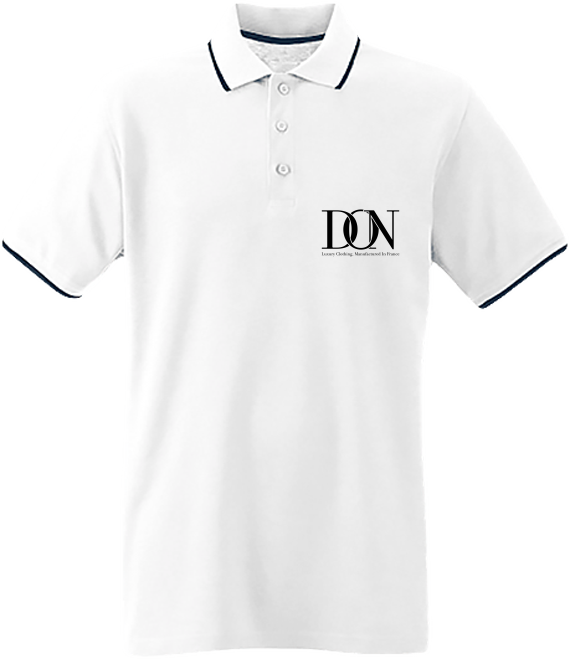 Mens Official Don Signature Polo-Shirt - White / Navy / White / S - Homme>Polos