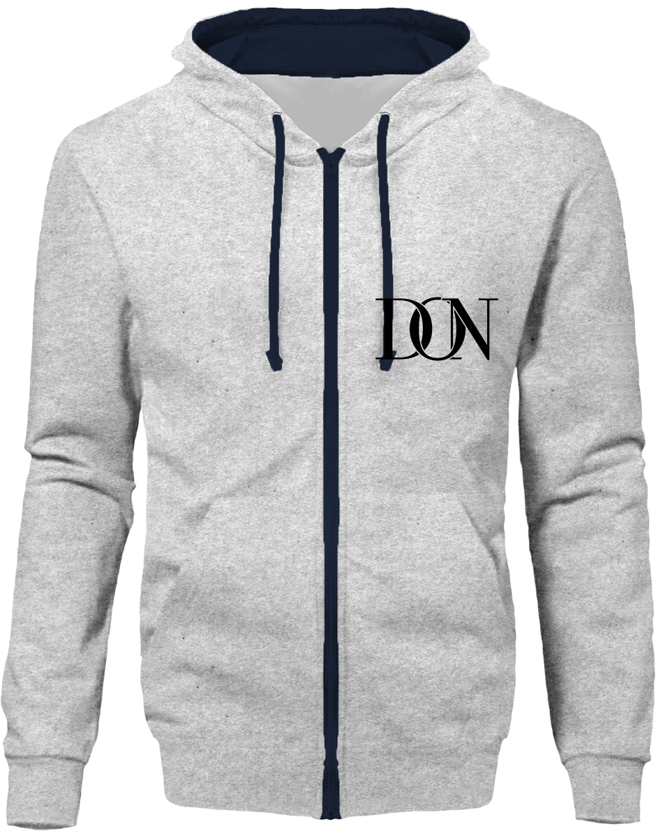 Official Don Signature Hoodie Two-Tone With Zip - Heather Grey / French Navy / S - Unisexe>Sweatshirts