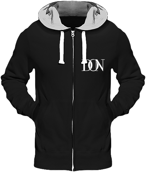 Mens Official Don Heavyweight Signature Jacket - Jet Black (Grey Inner) / S - Homme>Sweatshirts