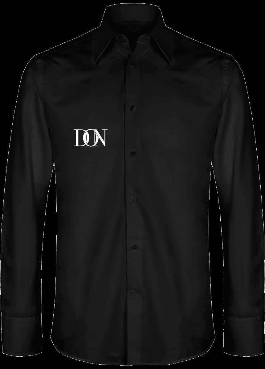 Mens Official Don Signature Slim Fit Shirt Men Luxury Long Sleeve - Black / S - Homme>Chemises & Pulls