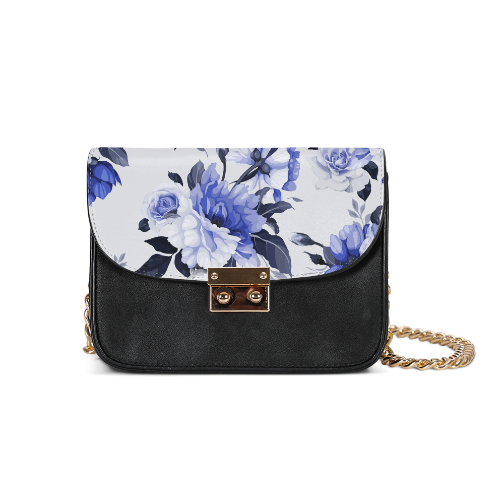 Dark Slate Gray Flower print Small Shoulder Bag