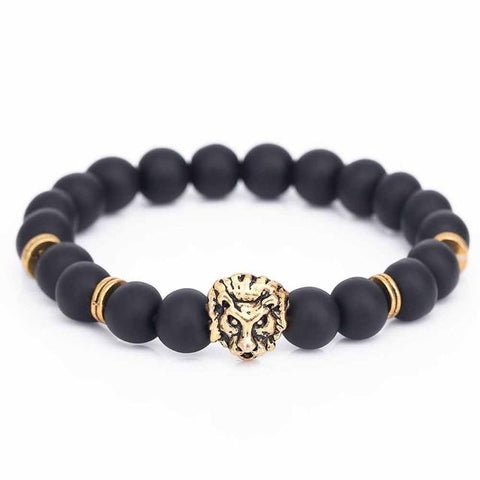 Gold Buddha Lion Head Bracelet With Black Lava Stone
