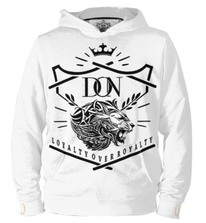 Mens Official Don Loyalty Over Royalty Silk White Hoodie